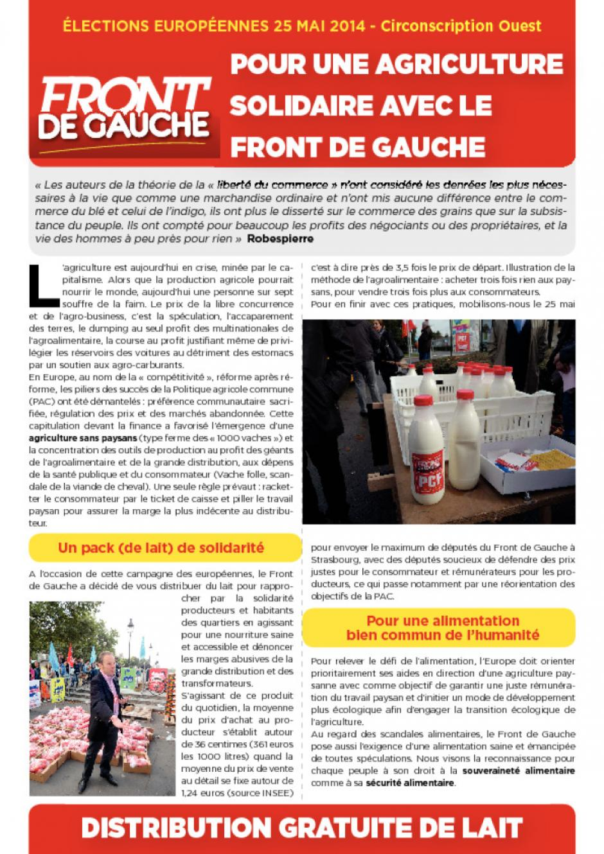 Campagne des européennes, agriculture : Distribution de lait à Rennes