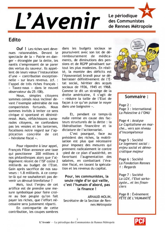 L'Avenir, le journal des communistes rennais