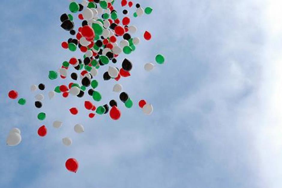 A l'initiative du MJCF 35 : lâché de ballons en soutien à la Palestine