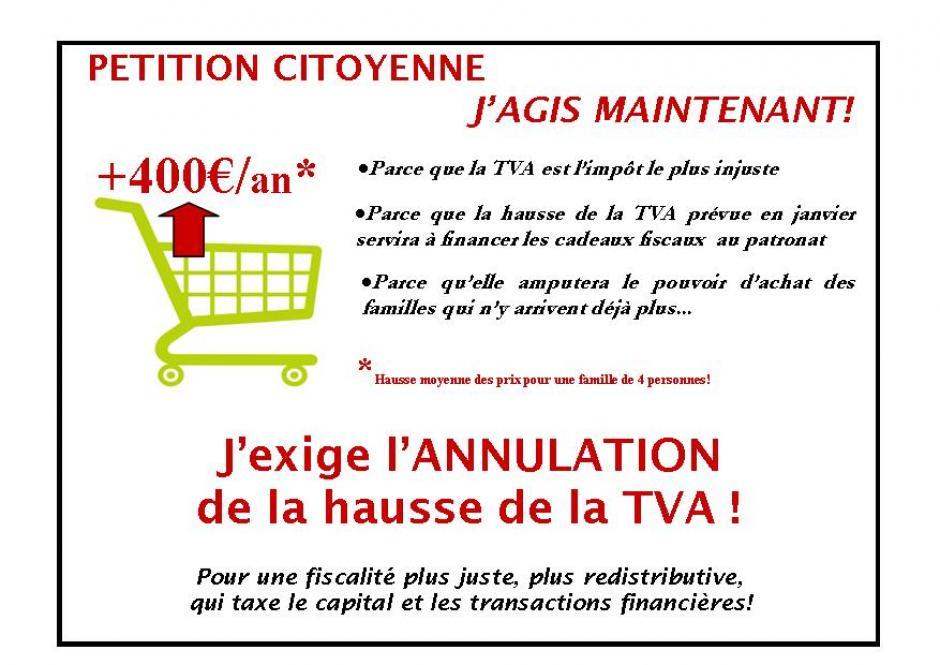 Signez la pétition citoyenne contre la hausse de la TVA!