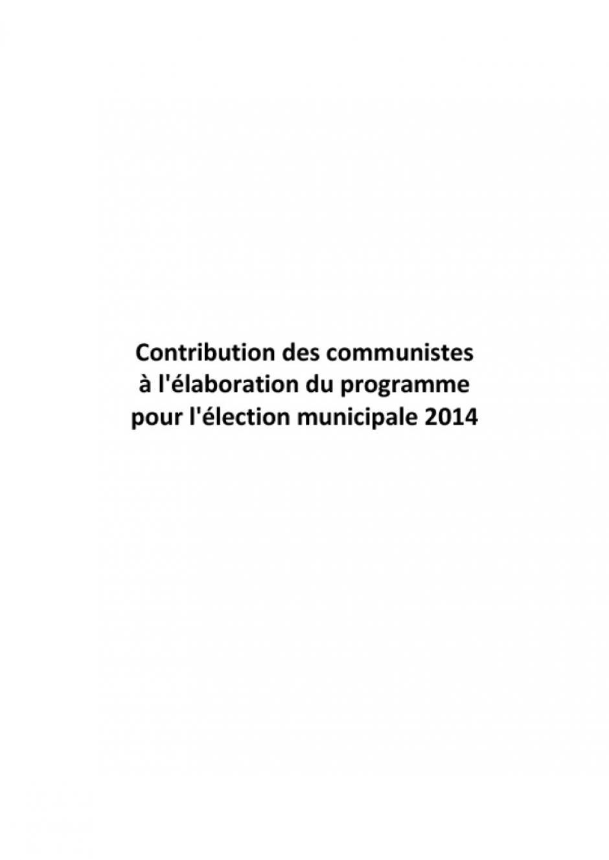Municipales 2014 - contribution des communistes