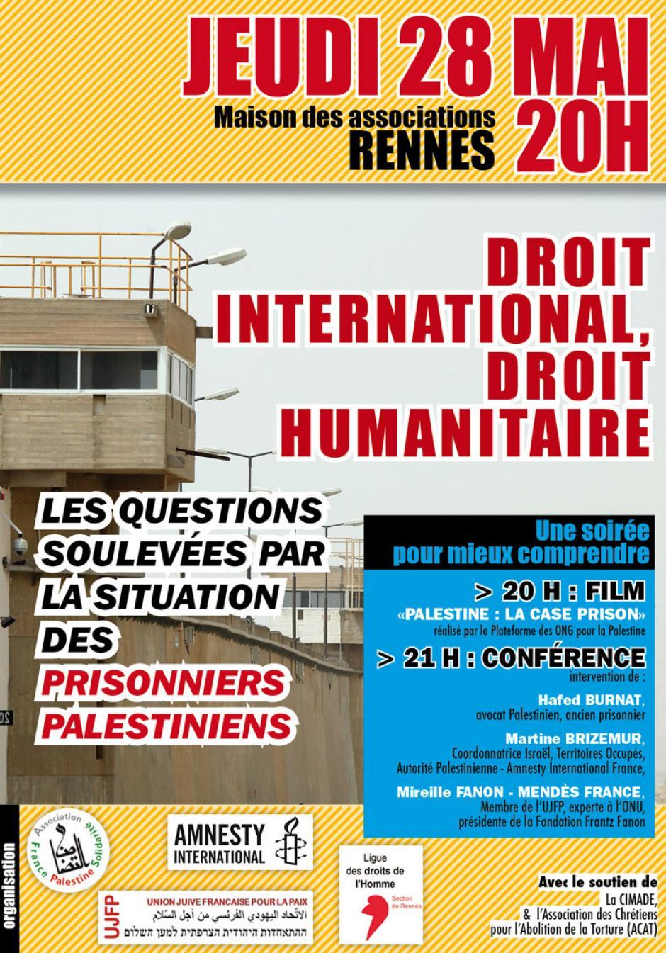 Jeudi 28 mai : Soirée projection / conférence sur la situation des prisonniers politiques Palestiniens