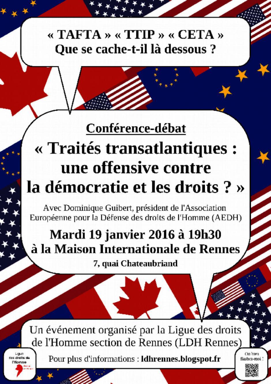 Conférence-débat sur le TAFTA le 19/01