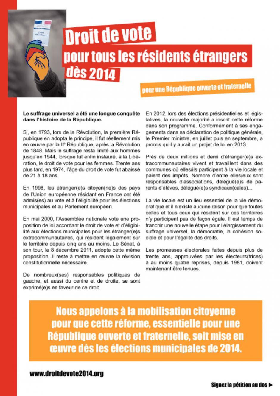 Pétition - Droit de vote pour tous les résidents étrangers dès 2014